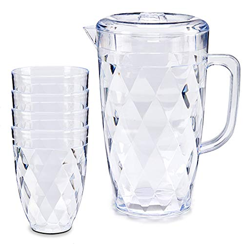 MGE - Set de Jarra de Agua con Tapa y Vasos -...