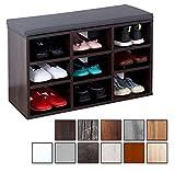 RICOO WM035-EB-A, Banco Zapatero, 79x49x30, Armario Interior con Asiento, Organizador Zapatos, Mueble recibidor, Perchero...