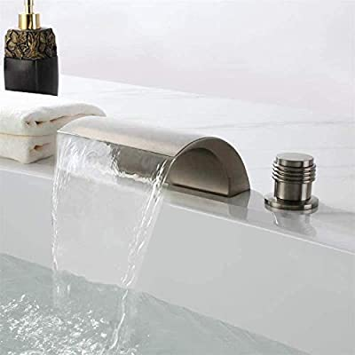 Bathtub Faucet Brushed Nickel Deck Mount Three Hole Double Handle with Waterfall Spout Tub Filler Faucet for High Flow