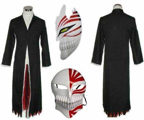 Sunkee Japanische Anime Bleach Ichigo Kurosaki Cosplay Kimono Mantel + Ichigo Kurosaki maske set, Größe L :(Größe 162-170cm,Gewicht 55-60kg)