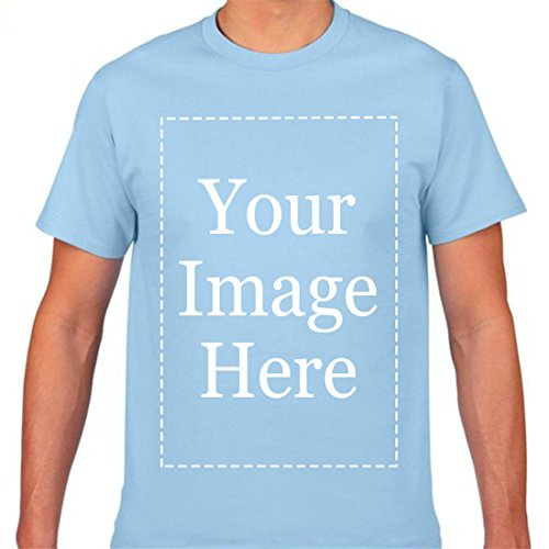 Add Your Own Custom Text Name Image Or Message Personalized for Men Shirts SkyBlue M