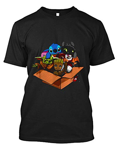 ISACY KIBER Baby #Yoda Gizmo #Groot #Stitch and #Toothless T Shirt Gift Tee for Men Women Black