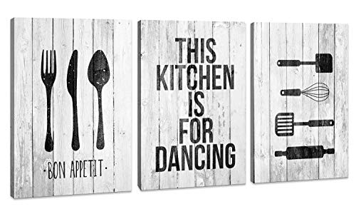 Canvas Wall Art for Kitchen Wall Decor intage wood Rustic 3 panels kitchen Decoration Artwork Ready to Hang Each piece 12x16inch