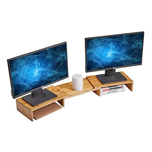 HUVIBE Bamboo Dual Monitor Stand Riser with Length and Angle Adjustable, 3 Shelf Multifunctional Screen Desktop Organizer for Laptop Computer, TV, PC, Printer, Multi Media Speaker-Burlywood