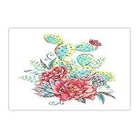 Assanu サボテンバスラグ水彩多肉植物と赤い花滑り止め玄関フロア玄関屋内玄関マット浴室の敷物15.7x23.6in