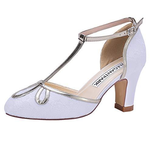 Duosheng & Elegant HC2024 Scarpe Sposa Chiuse T-Strap Scarpe Donna Tacco Medio Raso Scarpe da Sposa Bianco 38