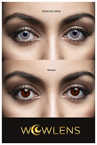 WOWLENS Sehr stark deckende und natürliche graue Kontaktlinsen farbig DUBAI LIGHTGREY + Behälter I 1 Paar (2 Stück) I DIA 14.00 I 0.00 Dioptrien I ohne Stärke