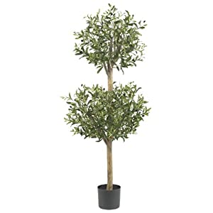 Nearly Natural 5309 Olive Double Topiary Silk Tree, 4.5-Feet, Green
