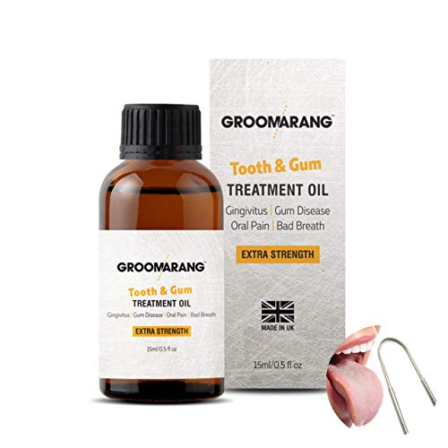 Groomarang Gum Disease Treatment Oil for Gingivitis, Bad Breath & Oral Pain - Made from 100% Pure Botanical Oils (Extra Strength) 15ml Includes Stainless Steel Tongue Scraper