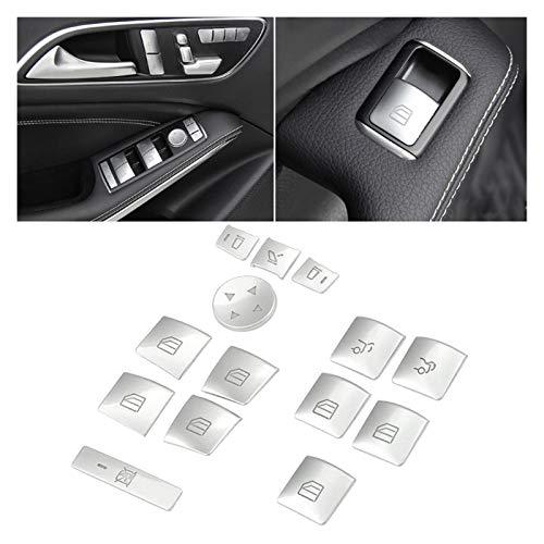 Danghe Puerta Interior Reproductor de la Ventana Interruptor de la Ventana Pegatina Pegatina Ajuste para Benz GLK ML GL A B C E G Class W04 W212 W246 W166 x166 (Color : Silver)
