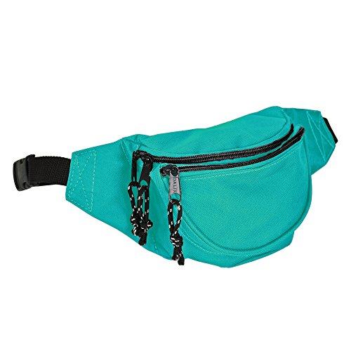 DALIX Fanny Pack w/ 3 Pockets Traveling Concealment Pouch Airport Money Bag (Aqua)