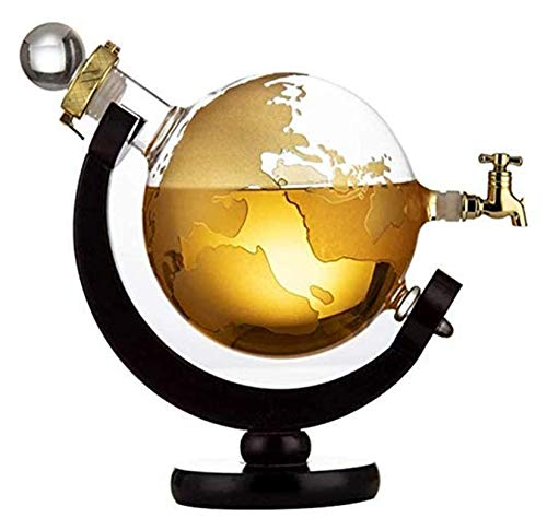 WHZG Decantador de globo grabado mundial para escocés, brandy titular de Tequila Alcohol Decanter para papá Dispensador de licor libre único 717