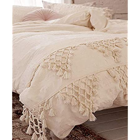Flber outlet Ivory Duvet Cover King Boho Cotton Tassel Bedspreads Comforter Quilt Cover,96inx104in (86inx90in)