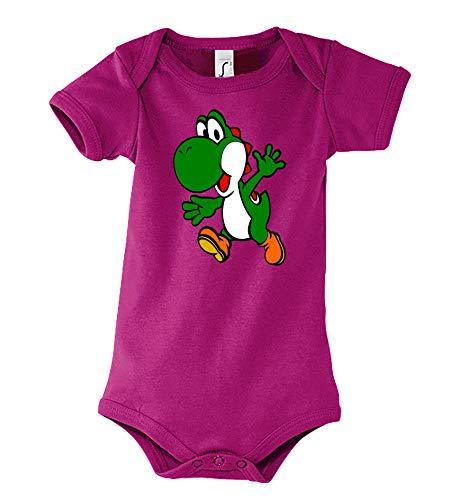 TRVPPY - Body a maniche corte per bambini e bambine, modello Yoshi 2', taglia 3-24 mesi, in diversi colori fucsia 6-12 Mesi