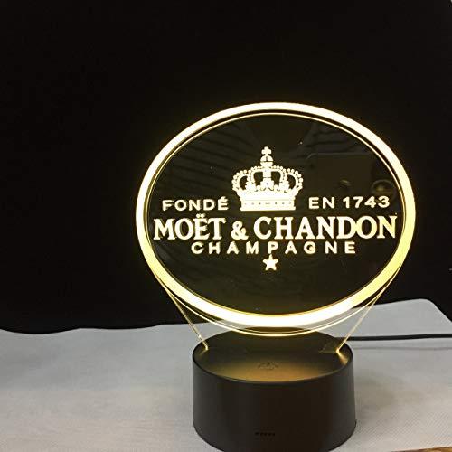 Zhuhuimin et Yue Champagne (Moet Et Chandons) 3D-led-nachtlampje voor klantenvrienden, babynachtlampje, USB- of batterij-aangedreven bureaudecoratielicht