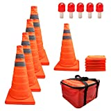 HYDDNice 5 Pack 18' Collapsible Traffic Cones with LED Lights Reflective Safety Cones 2 Reflective Silver Strips