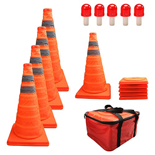 "HYDDNice 5 Pack 18"" Collapsible Traffic Cones with LED Lights Reflective Safety Cones 2 Reflective Silver Strips"