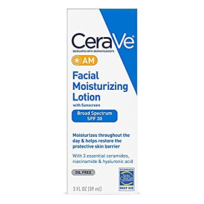 CeraVe AM Facial Moisturizing Lotion SPF 30   Oil-Free Face Moisturizer with Sunscreen   Non-Comedogenic   3 Ounce.