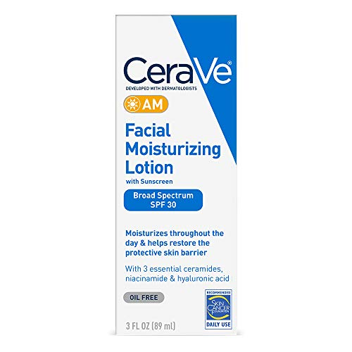 CeraVe AM Facial Moisturizing Lotion SPF 30 | OilFree Face Moisturizer with Sunscreen | NonComedogenic | 3 Ounce