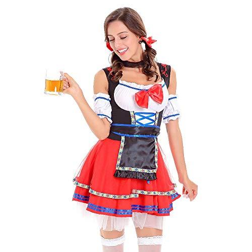 Transwen Disfraz tradicional de 3 piezas para mujer, disfraz de Oktoberfest, vestido tirolés, disfraz de 3 piezas rojo M