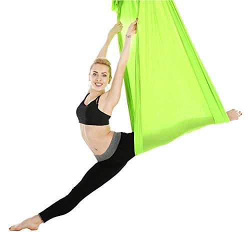 Tbest Aerial Yoga Swing Set, 2,8 m langlebig elastisch Aerial Yoga Hängematte Swings Pilates Yoga Flying Swing Fitness Training Zubehör für Yoga Bodybuilding für Anfänger & Kinder(Grün)