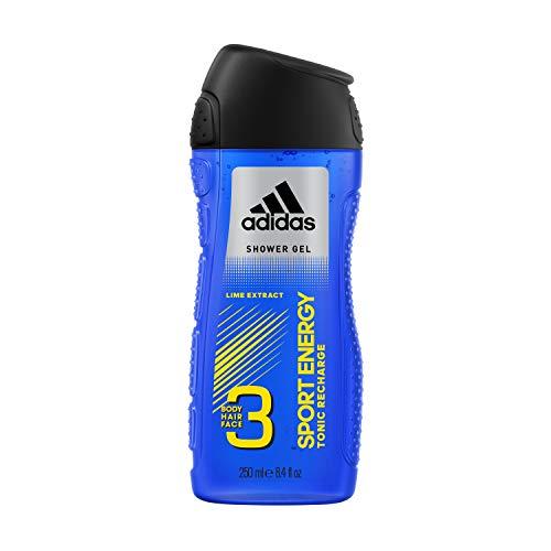 adidas Sport Energy 3in1 douchegel voor heren - zachte reiniging van lichaam, gezicht en haar, verpakking van 6 (6 x 250 ml)
