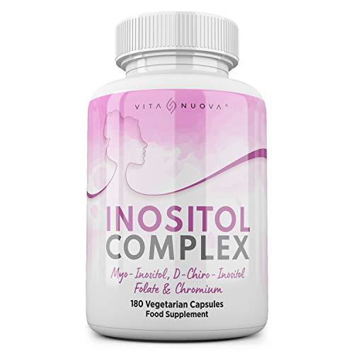 Inositol Complex | PCOS | Myo & D Chiro-Inositol, Folate & Chromium | Optimum 40:1 Ratio | Ovarian, Hormonal & Fertility Support | Quatrefolic | Vegan | UK Made | Additive Free (180 Capsule Bottle)
