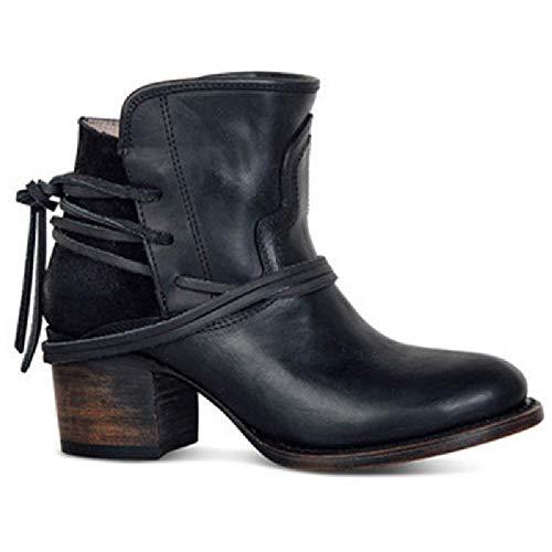 JUNSHANG Botas de Caballero de la Parte Baja del Caballero de Las Mujeres, Botas de Cuero Retro Tubo bajo Tacón Grueso Zapatos de Mujer Botas de Mujer Botas de otoño de Primavera,Black-42