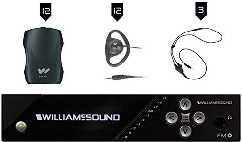 Williams AV FM 557-12 Large-Area Dual FM Plus and Wi-Fi Assistive Listening System with FM T55 Transmitter, (12) PPA R37N Receivers, (12) EAR 022 Earphones, (3) NKL 001 Neckloops
