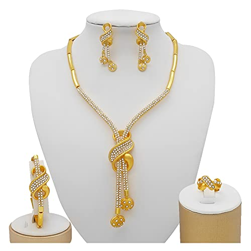 yuese Nuevo collar de hija de color dorado conjuntos de joyas de...