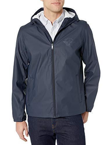 Dockers Men's Hooded Waterproof Rain Jacket, Blue Shawn, Medium