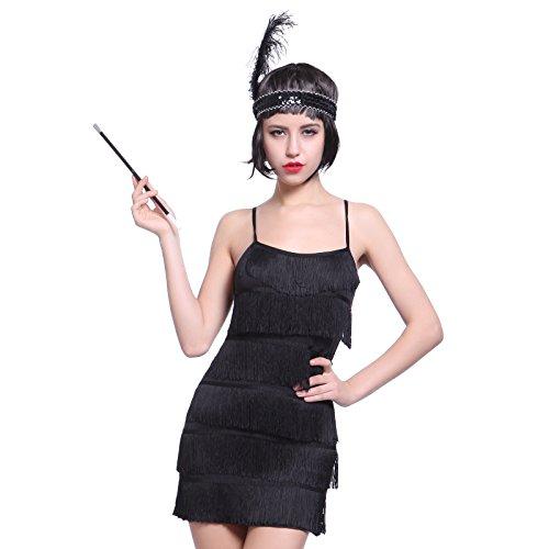 Anladia Damen Fransen Pailletten Party Tanzkleid Charleston Festlich Damenkostüm, S, Kurz Flapper-schwarz
