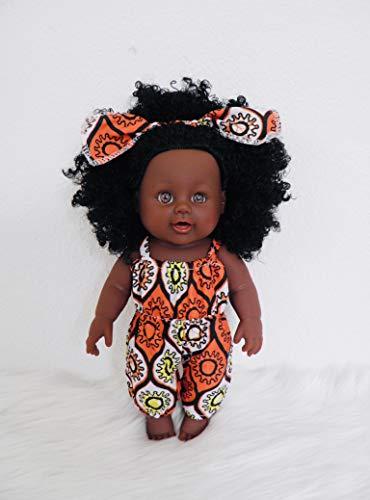 ALÂÂM 30 cm Afro-amerikanische Babypuppe in Jumpsuit-Style (Sunny Sahara)