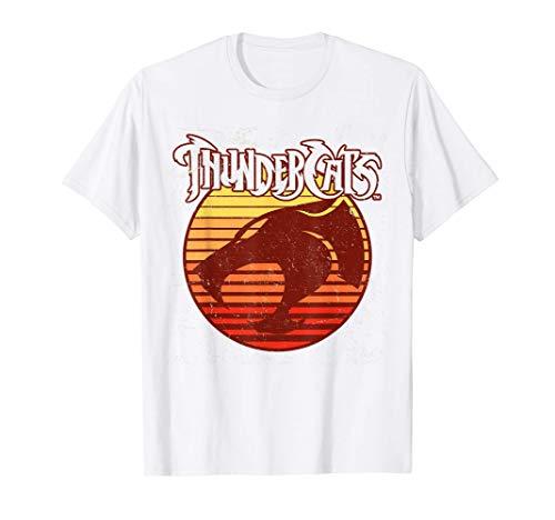 ThunderCats Retro Sunset Logo Outline T-Shirt, White or Gray, Men, Women, S to 3XL
