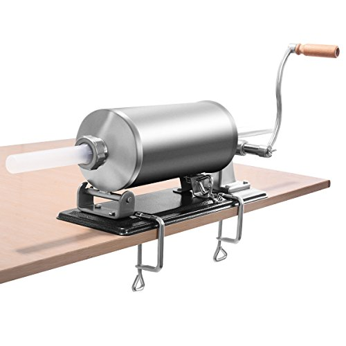 COSTWAY 3,6L / 4,8L Wurstfüller manuell, Wurstmaschine aus Edelstahl, Wurstfüllmaschine nkl. 4 Füllrohre silber, Wurstpresse mit Tischklemme, Wurstspritze silber (4,8L)