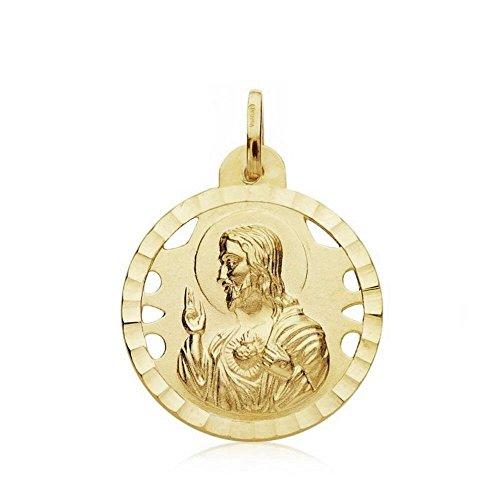 Medalla Oro 18K Escapulario Virgen Angustias 22mm. [Ab3417]