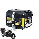 HGTRH Baúl Moto e Duro, Top Case Universal Moto, Maletas Moto 45L - 41.5 * 35 * 32cm, Baul Moto con Base Incluida, para Motocicleta Scooter