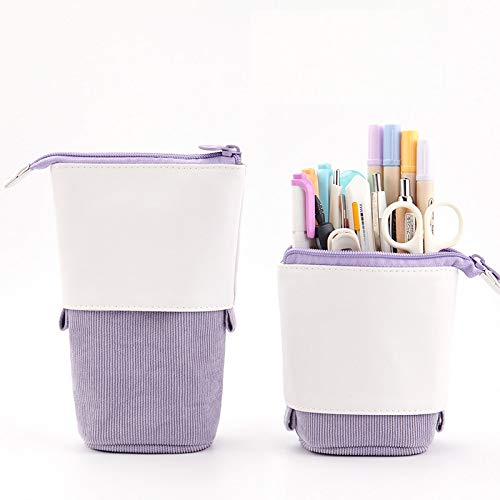 Friinder Pen Pencil Telescopic Holder Stationery Case, PU Corduroy Stand-up Transformer Bag Colorful...