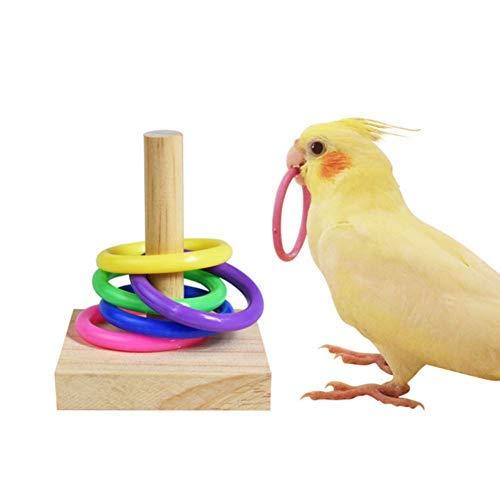 HAOT Bird Toys, Bird Trick Tabletop Toys, Stapeln von Farbringspielzeugsets, Papageienkauball, Foraing Toys, Education Play Gym Spielplatz Aktivität Cage Foot Toys