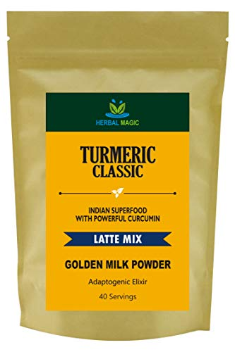 Herbal Magic Turmeric Classic Latte Mix -100% Organic Indian Superfood With Powerful Curcumin -Caffeine Free Herbal Supplements -Golden Milk Powder, 40 Servings -Premium Quality Lakadong Turmeric Used