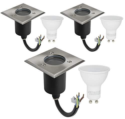 3er Set Bodeneinbauleuchte IP67 Wasserdicht 230Volt AC GU10 5Watt LED Leuchtmittel Geprüft Warmweiss 400Lumen 3000Kelvin Befahrbar Edelstahl Rostfrei Gehwegbeleuchtung