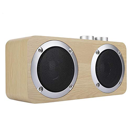 Great Price! Hilitand Wooden Bluetooth Speaker, Mini Bluetooth Wireless Subwoofer Speaker Rotary Kno...