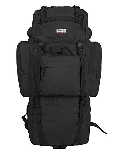 Seibertron 65L Internal-Frame Waterproof Backpack Rain Cover Included Black