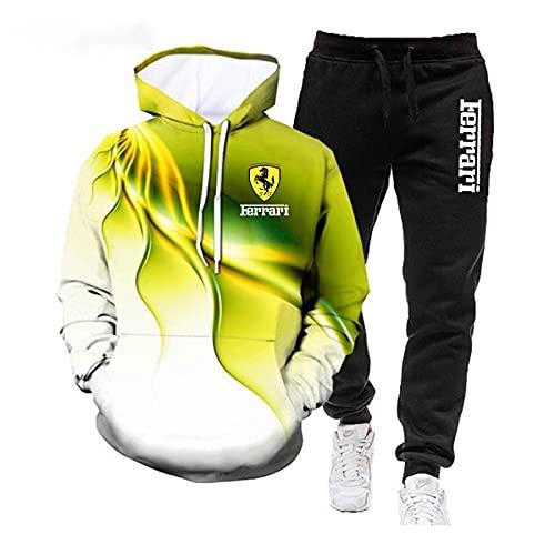 SPONYBORTY 2PCS Unisex Fer-rari Hoodie + Trousert Suit Chaquetas Sudaderas con capucha con estampado 3D Ropa deportiva...