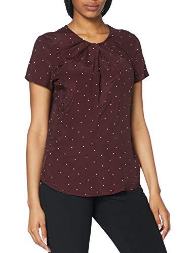 Seidensticker Damen Shirtbluse Kurzarm gepunktet Bluse – Fashion Bluse, rot-weiß, 46