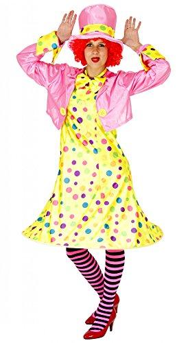 Foxxeo 40142 | Clownkostüm für Damen | Größe S, M, L, XL, XXL und XXXL | Set Bestehend aus Kleid, Jacke, Hut, Strumpfhose, Fliege |Clown Kostüm Frauen Clownfrau Lady Karneval Damenkostüm, Größe:XXXXL
