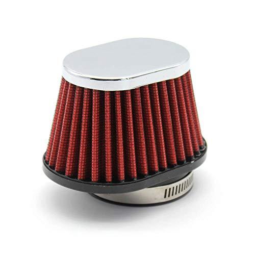 QREAEDZ Filtro de Aire de la Motocicleta 60 mm 55 mm 51mm Universal para Motor Coche Minibike Ingesta de Aire frío Filtro de Cono de Alto Flujo (Color : Red 51mm 1pcs)