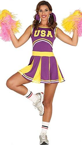 Fancy Me Damen USA lila American Football Cheerleader Sport Henne Do Abend Party Kostüm Kleid Outfit - UK 8-10