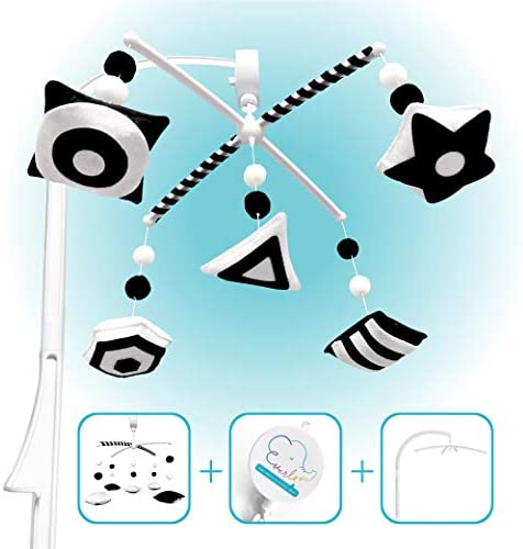 Montessori Mobile Baby Crib With Rotate Musical Box Black And White Mobile Crib Toys Hanging product image
