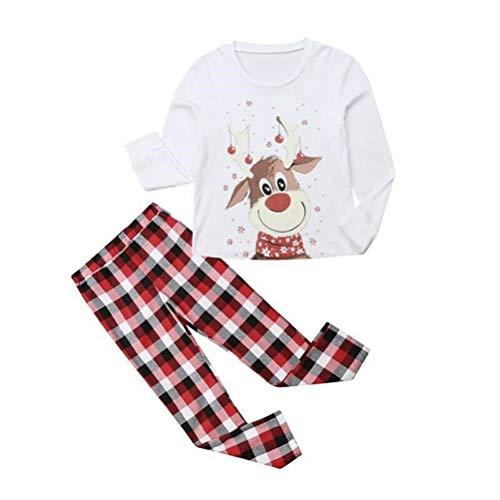 KAKAPI Conjunto de pijama familiar con estampado de alces y pantalones de noche de Navidad para dormir con estampado de pijama para padres e hijos, traje de servicio al hogar de manga larga 🔥